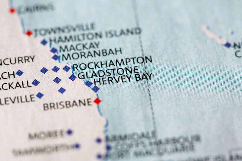 A blue and white map showing Hervey Bay