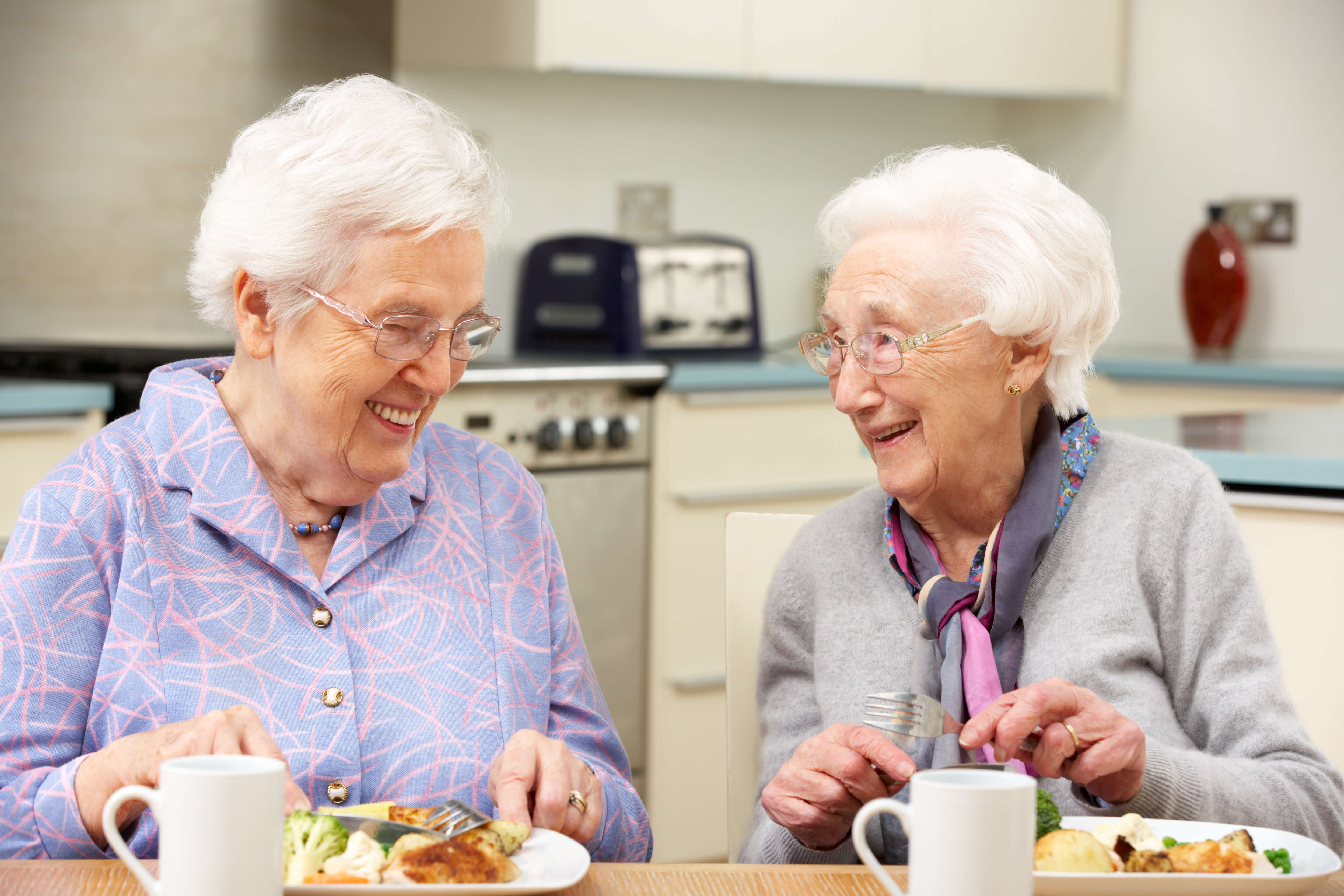 Two elderly ladies laughing together over lunch