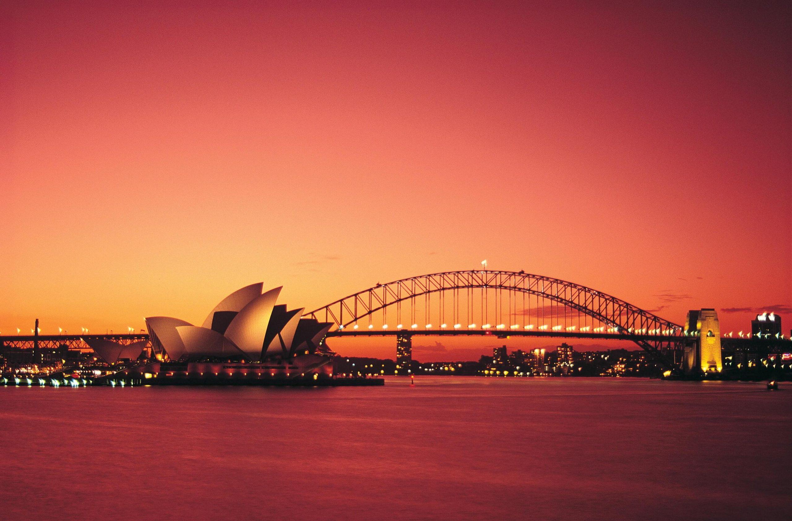 Sydney Harbour Bridge and Opera House at sunset