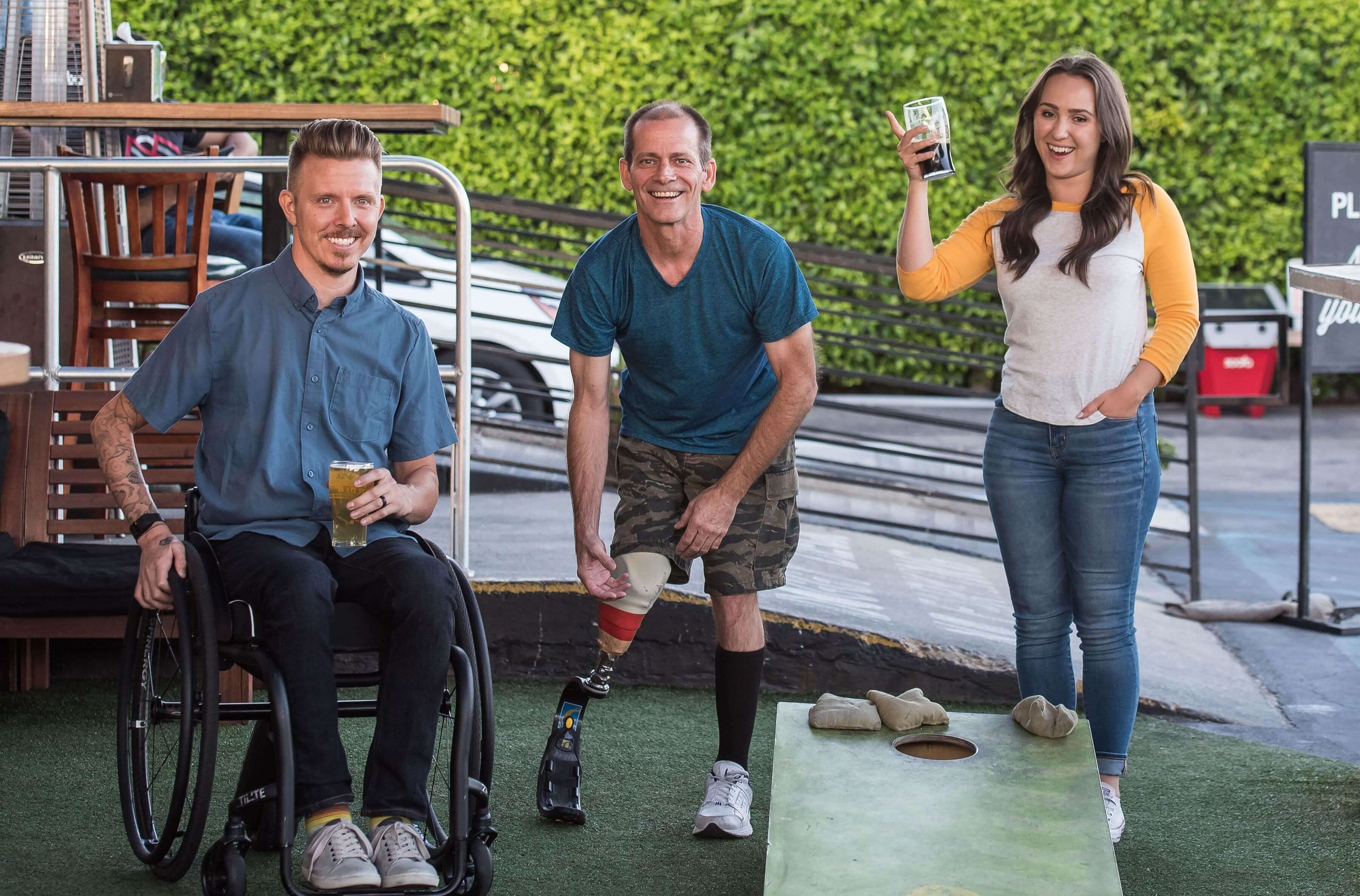 A group of friends with disability laughing together