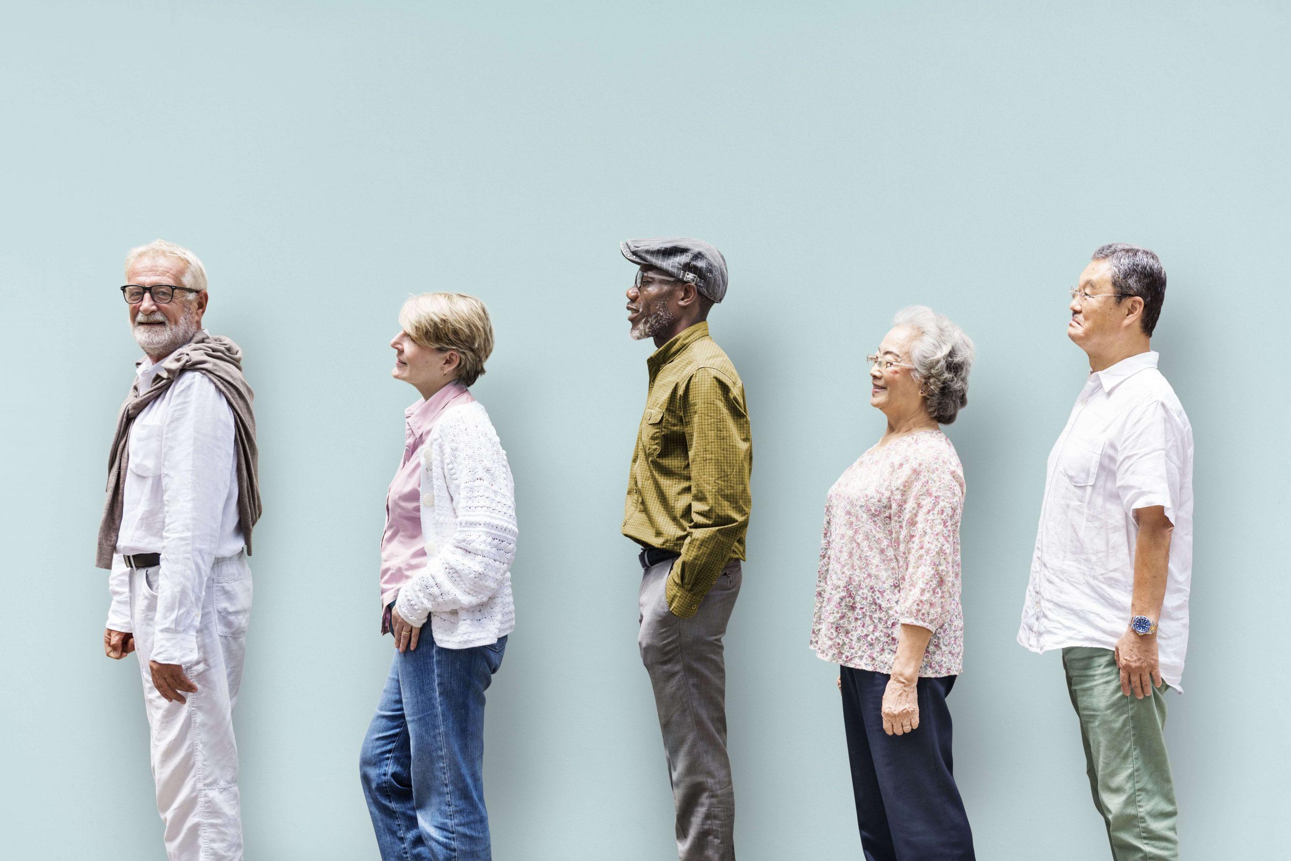 Seniors waiting in a queue